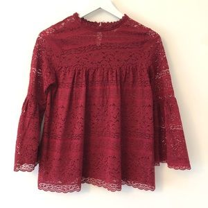 Coco Jaimeson Lace Bell Sleeve Top LIKE NEW S